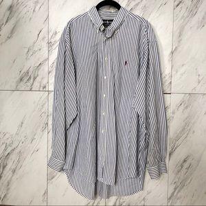 Ralph Lauren Butcher Cut Stripe Button Up SZ L